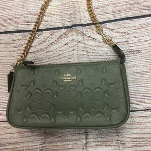 New Coach Clutch purse olive green chain handle